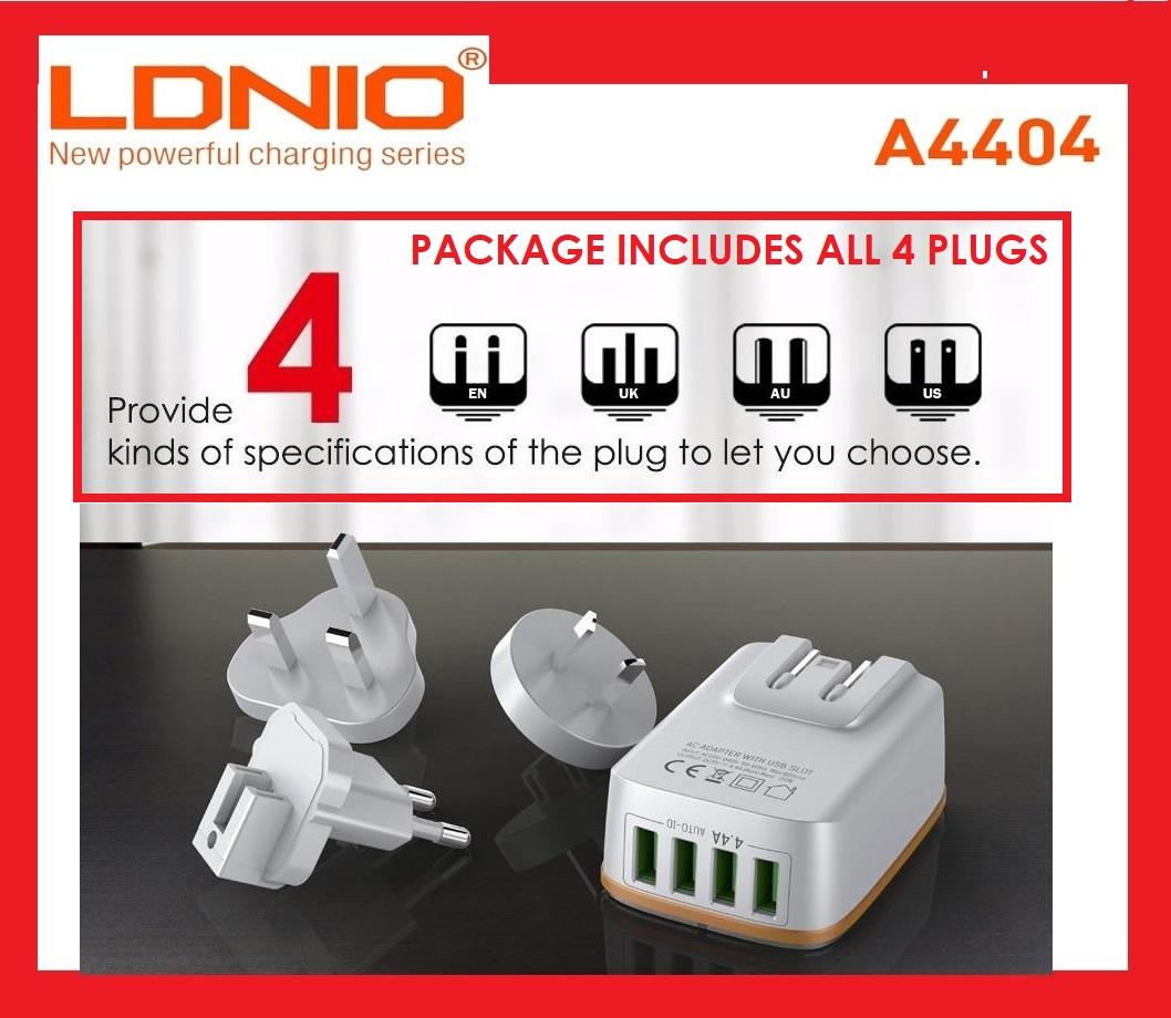 LDNIO [BEST BUYS] A4404 - 4 plugs [US UK AU EU] FAST Quick Charge Ports Universal Travel Charger Travel Adapter Multi Port Wall Plug