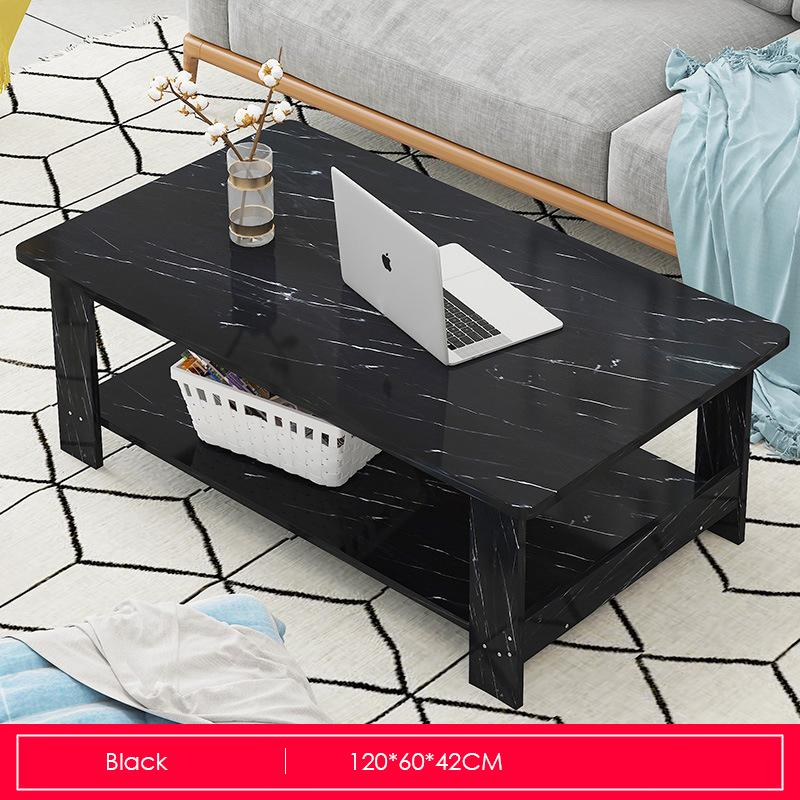 Double-Tiers Marble Print Coffee Table
