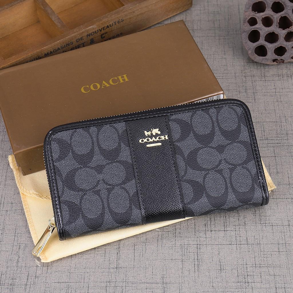 Coach   long zipper color matching wallet