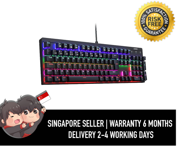 Aukey 105 Key LED-Backlit Mechanical Keyboard 100% Anti-ghosting with Metal Top Panel and Water Resistant Design for PC Gamers and Typists