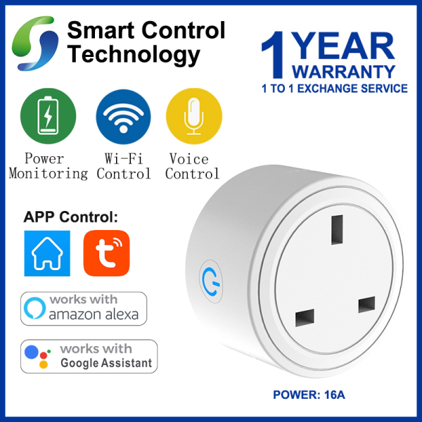 【Singapore Seller】SCT Smart【UK Plug】【16A】WiFi Remote Control with Alexa/Google Home Timing on/off Power Consumption Monitoring Smart Electric Mini Socket For high-power electrical appliance
