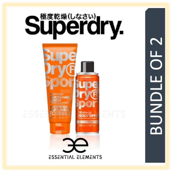 Buy SUPERDRY [BUNDLE OF 2] RE:charge MEN BODY & HAIR WASH 250ML + BODY SPRAY 200ML | SPORT ORIGINAL GROOMING ATHLETIC BATH SHOWER DEODORANT SHAMPOO Singapore