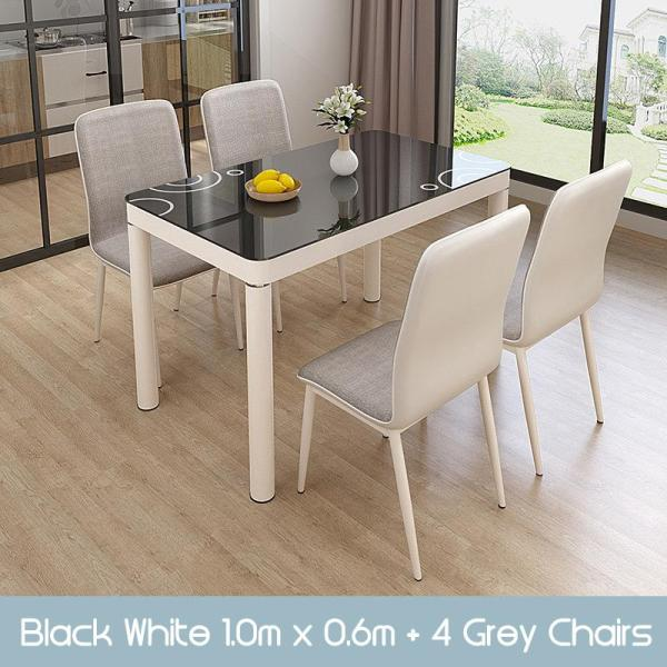 GJ Dining Table and Chairs set tempered glass splash proof easy clean scandinavian modern stylish classy man woman family home owner living room HDB black white [Immediate Delivery]
