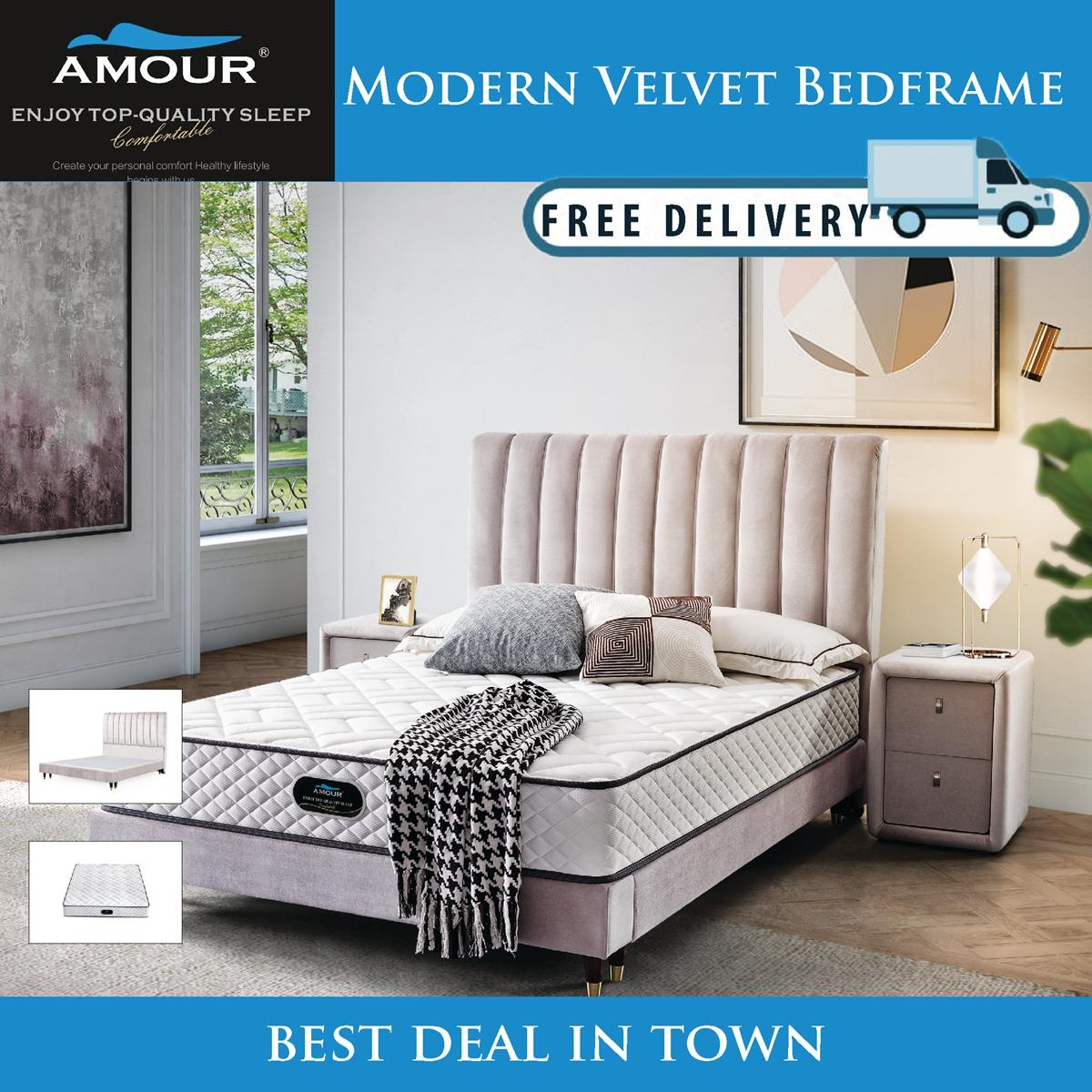 AMOUR BRAND QUEEN SIZE / KING SIZE PREMIUM MODERN VELVET BED FRAME/FREE DELIVERY/10 YEARS WARRANTY