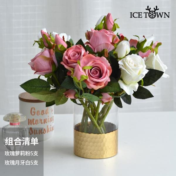 Rose Bouquet Imitation Flowers Silk Flower Plastic Flowers Artificial Flowers Dried Flower Decoration Snnei Living Room Table Floral Furnishings & Decoration