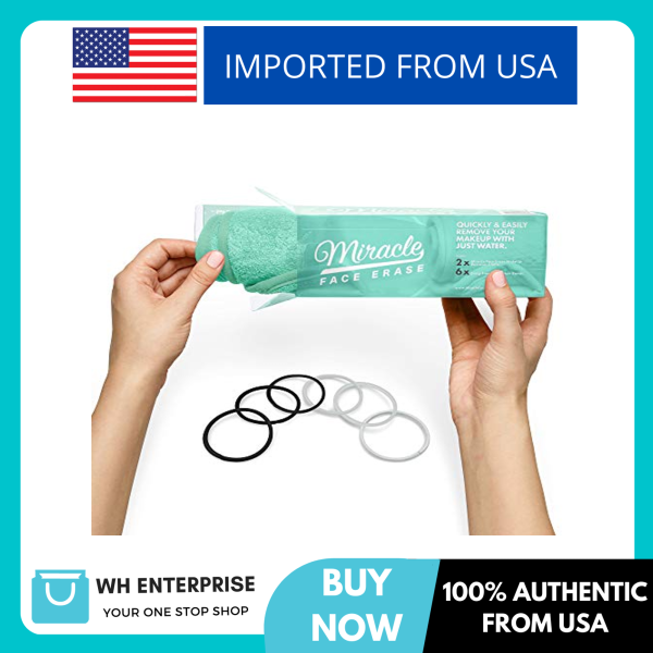 Buy 2 Pack Miracle Face Erase Makeup Remover Face Cloths, Chemical-free, Microfiber, Bonus 6 Hair Ties, (Seafoam) Singapore