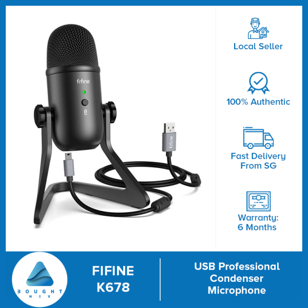 Fifine K678 Cardioid Condenser USB Microphone all-in-one with Mute Button and Mic Gain Knob For Voice Overs Recording Podcasting YouTube Karaoke Gaming Live Streaming Vlogging Webinars Zoom Windows Mac PS4 Teleconference Singing Singapore