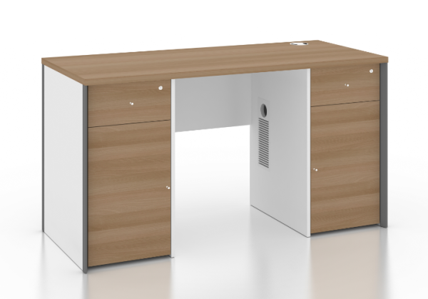 1.4m Standalone Desk with Drawers | Baycus B-One Series Table with 2 lockable drawer and 2 swing door cabinet attached
