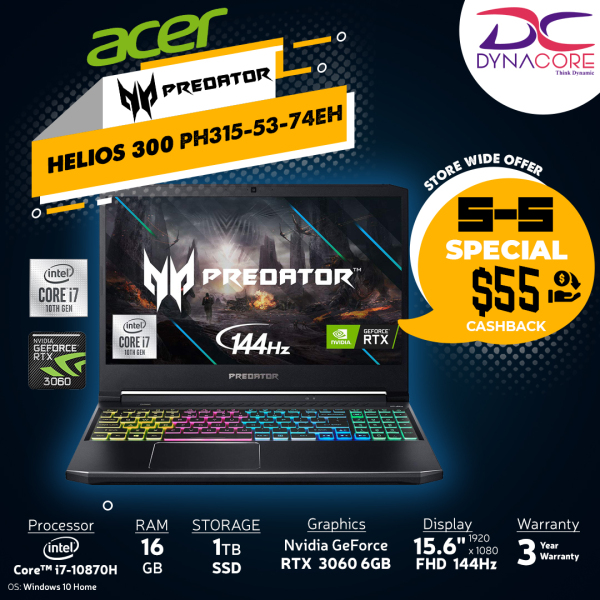 DYNACORE - 【DELIVERY IN 24 HOURS】ACER Predator Helios 300 PH315-53-74EH i7-10870H | 16GB | 1TB M.2 NVMe SSD | NVIDIA GeForce RTX-3060 | 15.6 FHD 144HZ-72% PH315-53-74EH