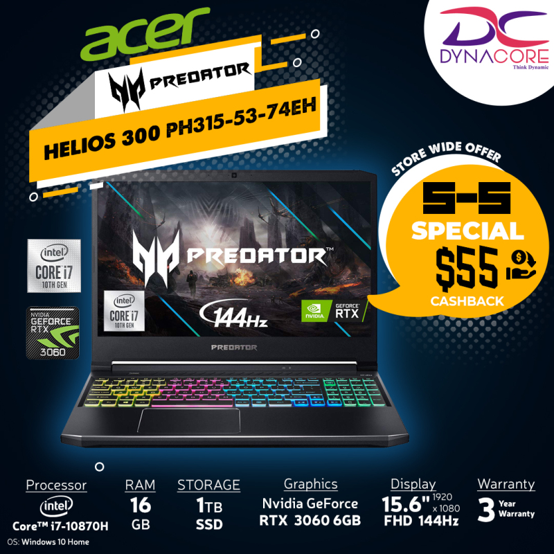 DYNACORE - 【DELIVERY IN 24 HOURS】ACER Predator Helios 300 PH315-53-74EH i7-10870H   16GB   1TB M.2 NVMe SSD   NVIDIA GeForce RTX-3060   15.6 FHD 144HZ-72% PH315-53-74EH