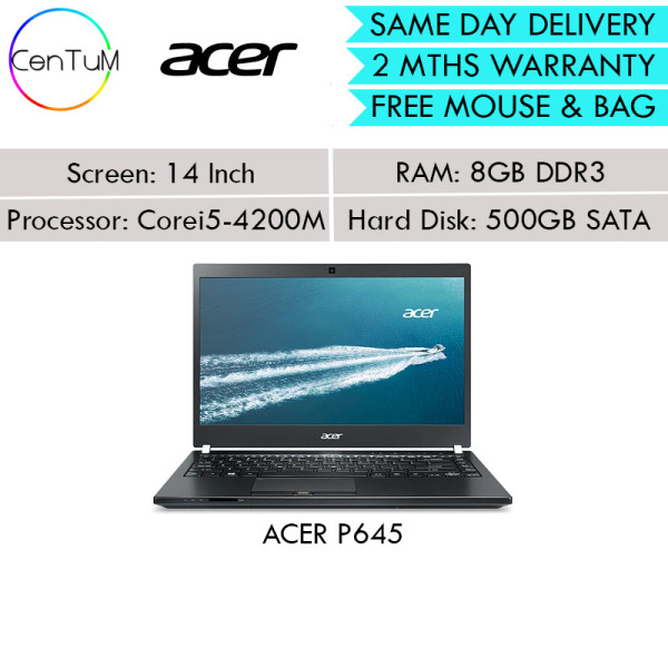 [Same Day Delivery] Refurbished ACER P645 14 Inch Core i5 8GB 500SATA 256SSD Win10 [Up to 24 Months Warranty]