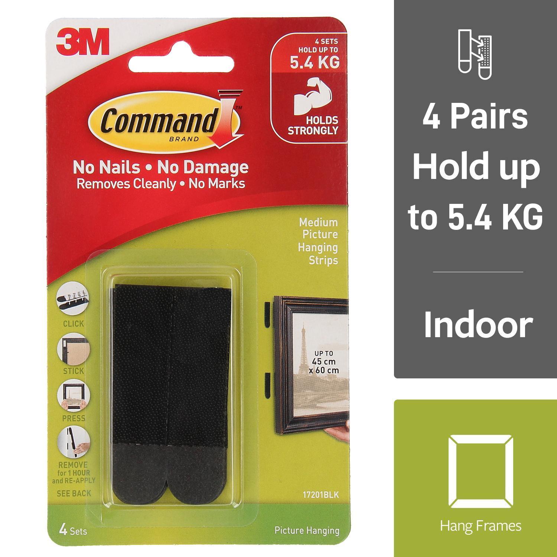 3M Command Picture Hanging Strips -Medium Black 4 sets/pk [17201BLK]