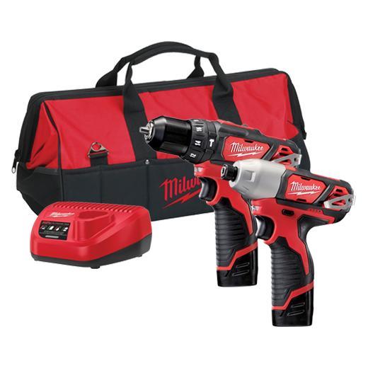 MILWAUKEE M12 Two Cordless Drill Combo Kit - M12 Impact Driver & M12 Hammer Drill Driver M12BPP2B-202B