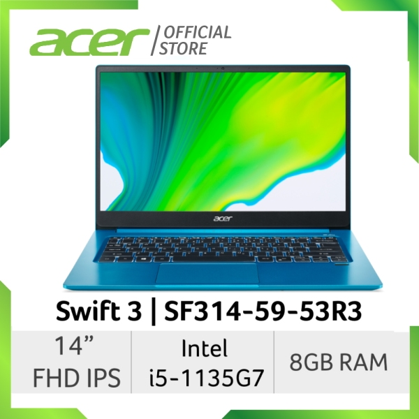 [2021 Model] Acer Swift 3 SF314-59-53R3 14 FHD IPS Thin and Light Weight Laptop Intel 11th Gen i5-1135G7 Processor