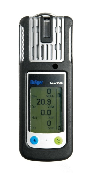 Draeger X-am 2500 (Cat Ex,O2, CO & H2S) personal multi gas detector with NiMH Battery and Charging set