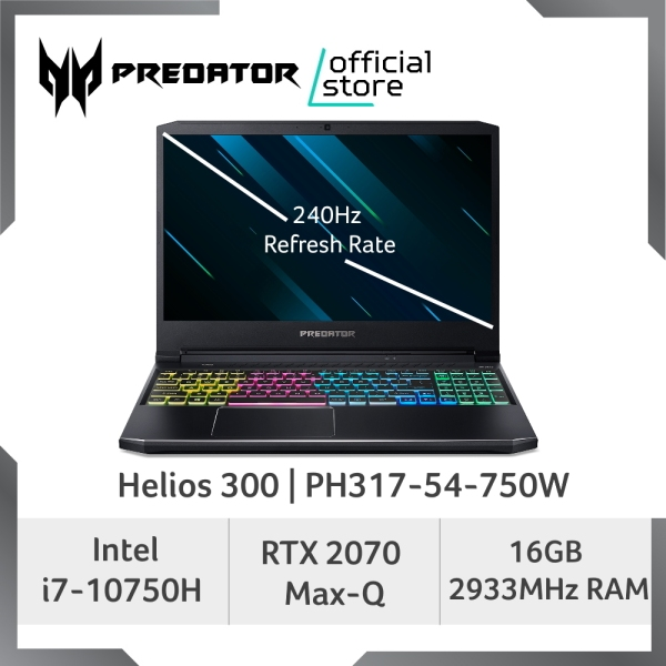[LATEST] Predator Helios 300 PH317-54-750W 17.3 INCH FHD IPS 240Hz Refresh Rate Gaming laptop with 10th Gen Intel Core i7-10750H Processor and NVIDIA RTX 2070 Max-Q Graphic