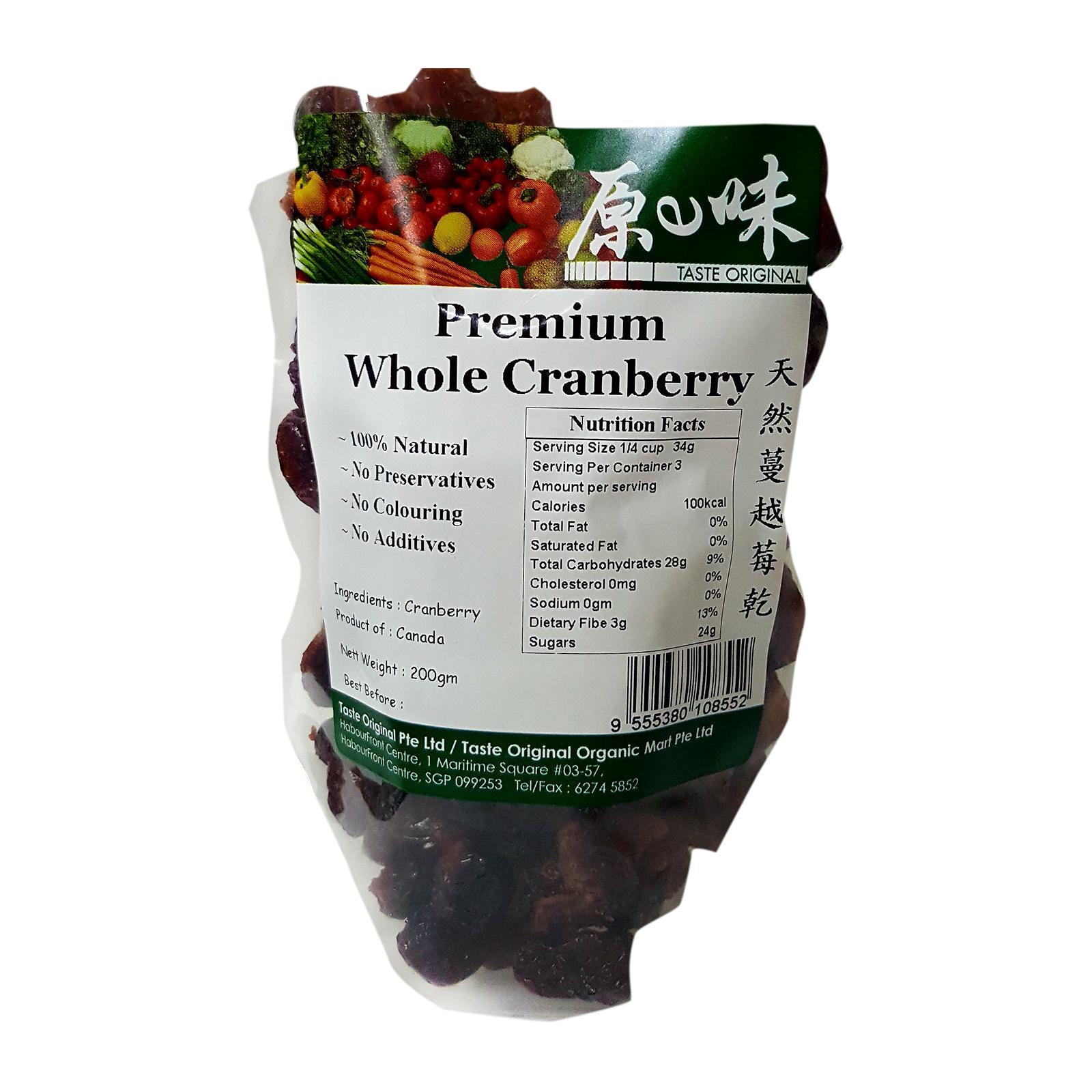 Taste Original Natural Dried Whole Cranberry