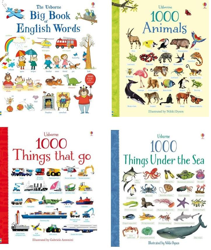 [Bundle Sales of Cardboard Book] Usborne Big Book of English Word, 1000 Animals, 1000 Things that go, 1000 Things Under the Sea