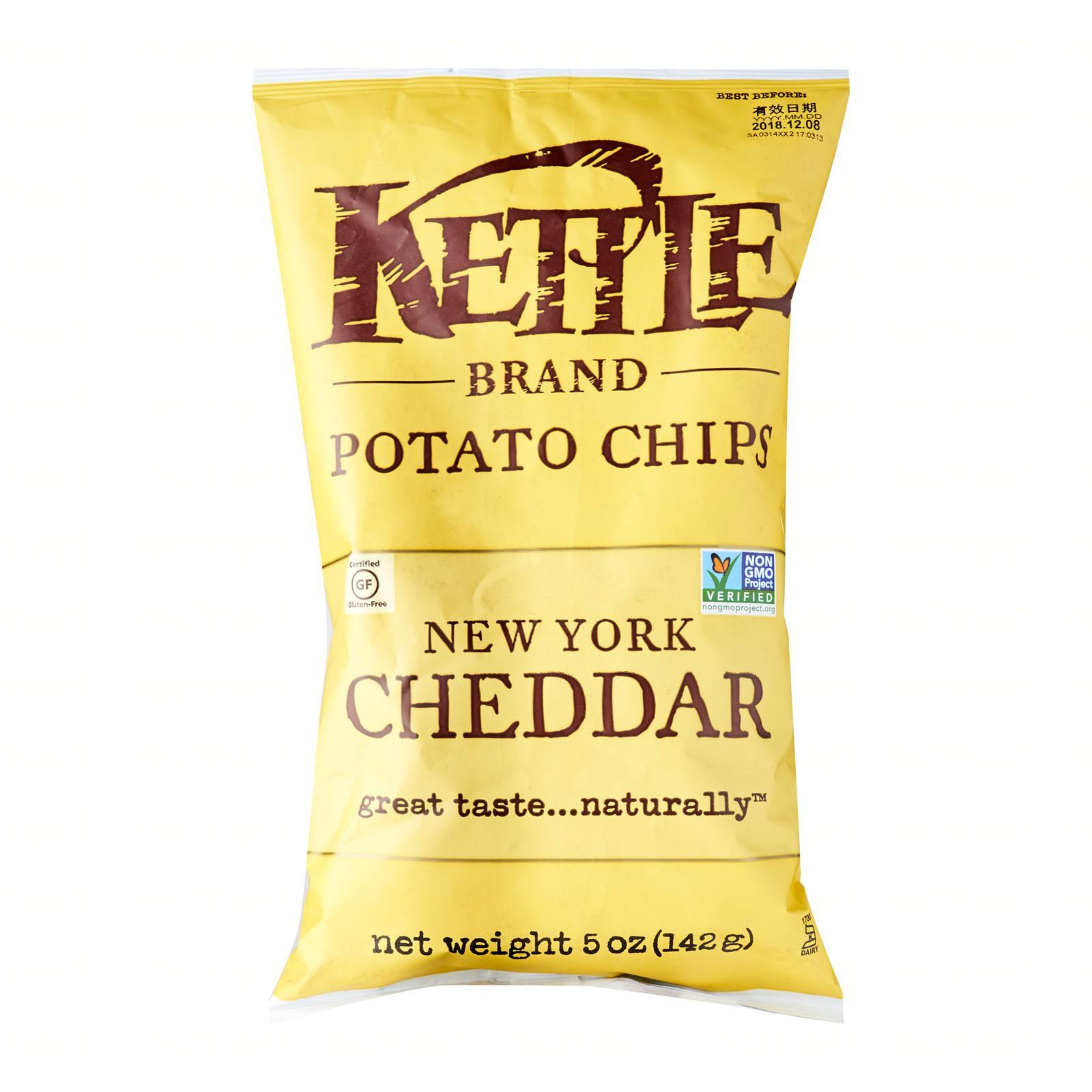 KETTLE Potato Chips New York Cheddar With Herb 142g