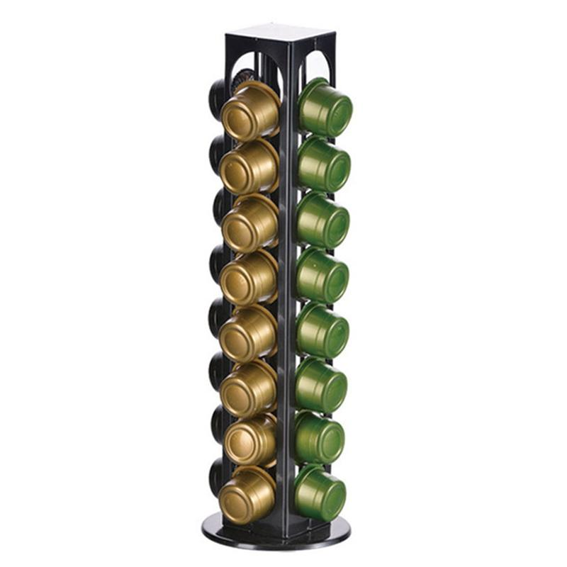 Oasiswj Rotating Coffee Pod Holder Tower Metal Stand Display Rack Storage Caffitaly Capsules Organizer Tool