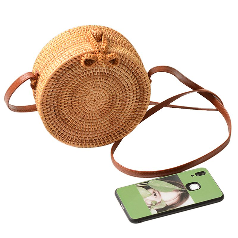 Round Women Summer Rattan Bag Handmade Woven Beach Cross Body Bag Circle Bohemia Handbag Bali Box(18x8Cm)