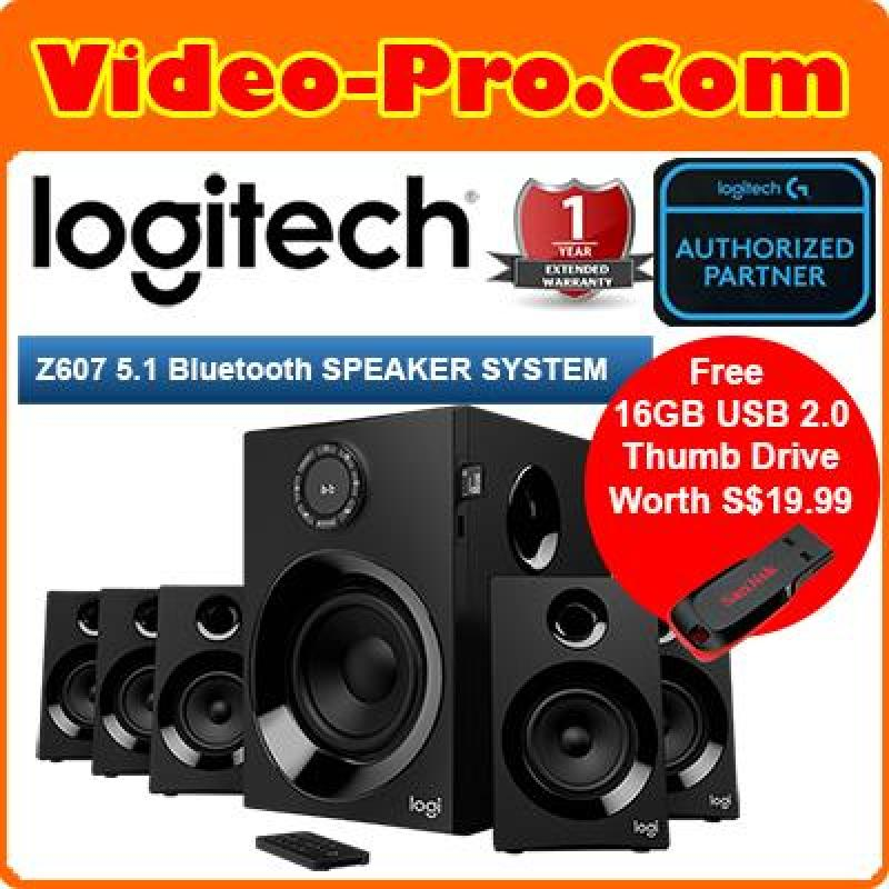 {Free 16GB Thumb Drive} Logitech Z607 5.1 Surround Sound Speakers (Bluetooth, RCA, 160 W Peak, Remote Control, Compatible with Computers, PC, TVs, Phones and Tablets) Singapore