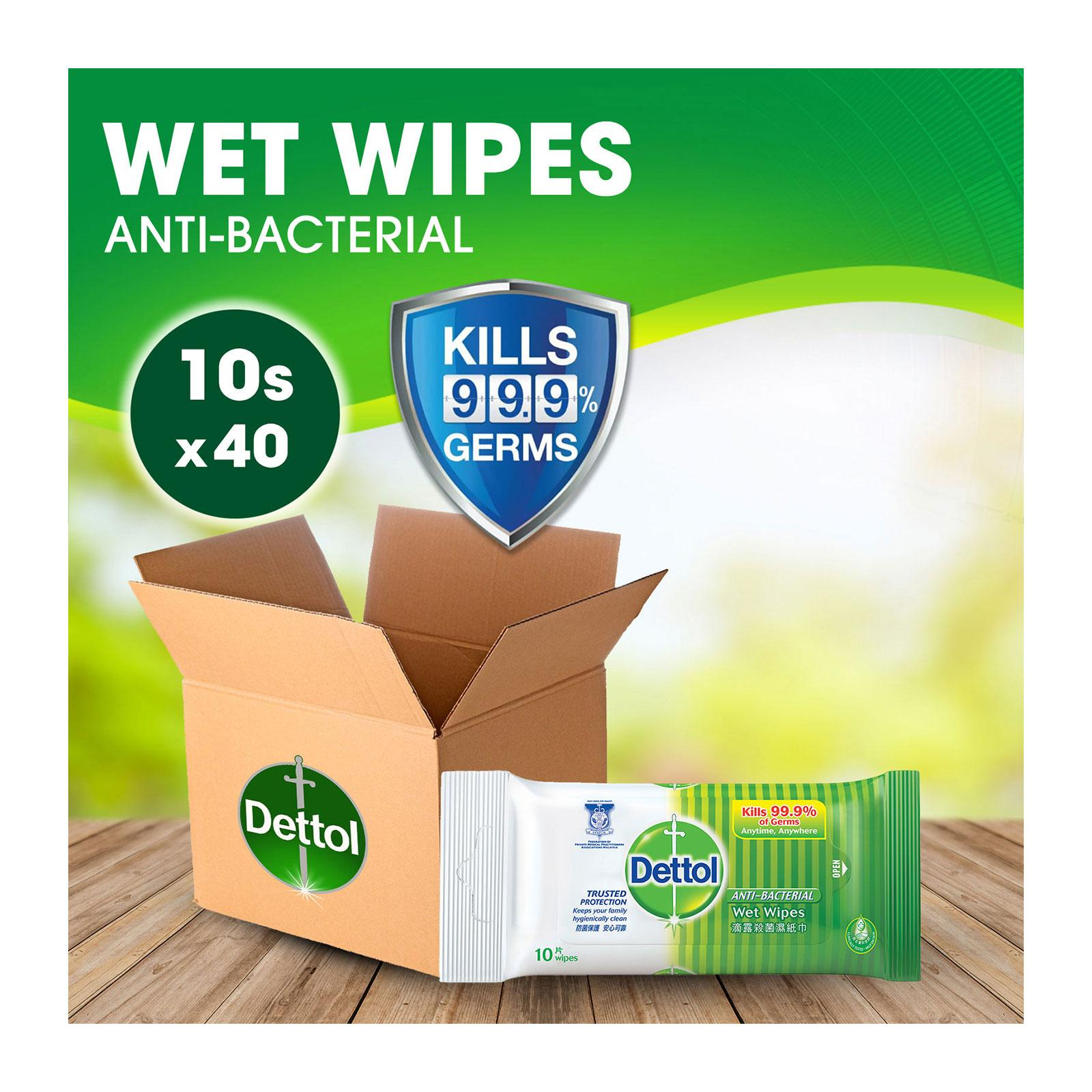 Dettol Antibacterial Wet Wipes 10s - 40 pack per Carton