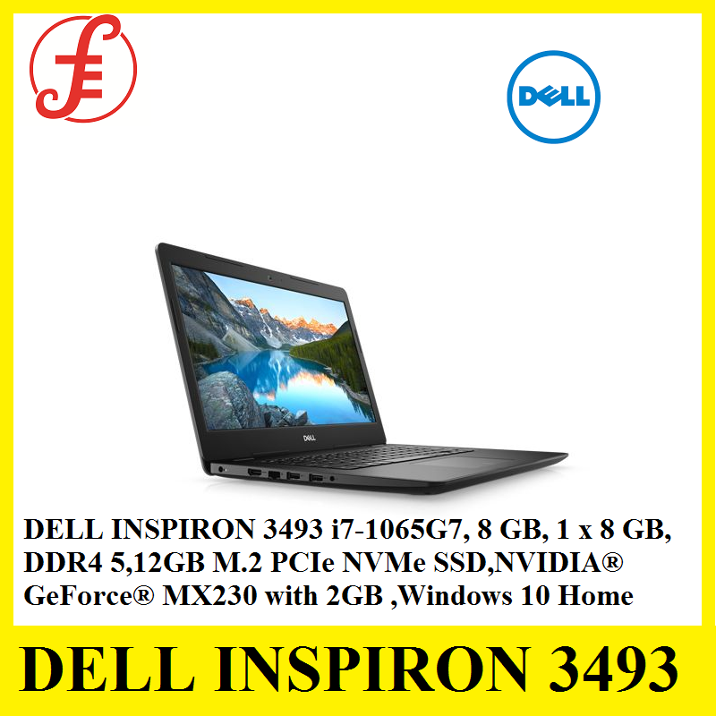 DELL INSPIRON 3493 i7-1065G7 8 GB, 1 x 8 GB, DDR4 512GB M.2 PCIe NVMe Solid State Drive NVIDIA® GeForce® MX230 with 2GB Windows 10 Home