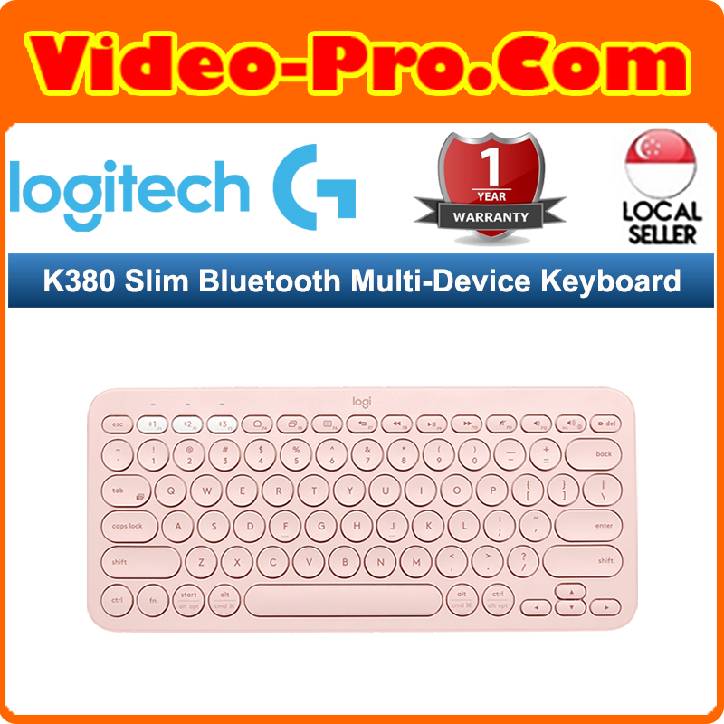 Logitech K380 Slim Bluetooth Multi-Device Keyboard  for Computers, Tablets and Smartphones-Pink 920-009579 (1 Year Warranty) Singapore