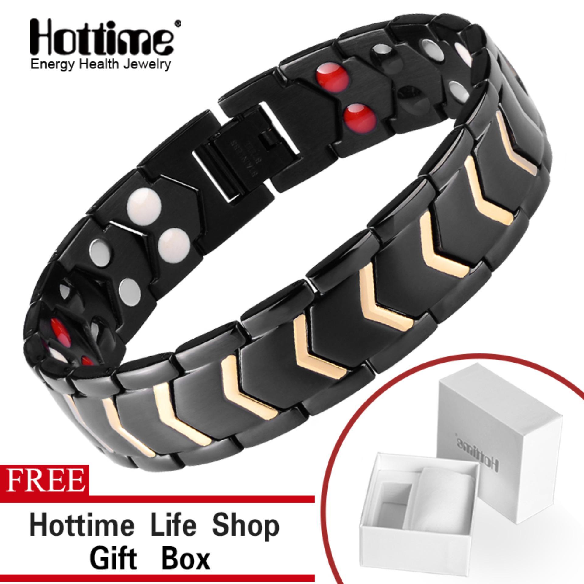 76e4c5c9c Hottime Luxury Double Row 4 Elements 316L Stainless Steel Magnetic Tharepy  Health Bracelet Bangle Link Wrist