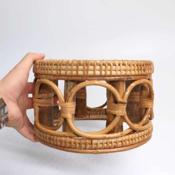 Handmade Rattan Stool Leisure teng deng Small dun zi Furniture Myanmar Stool Low Stool Weaving round Stool Children Footstool