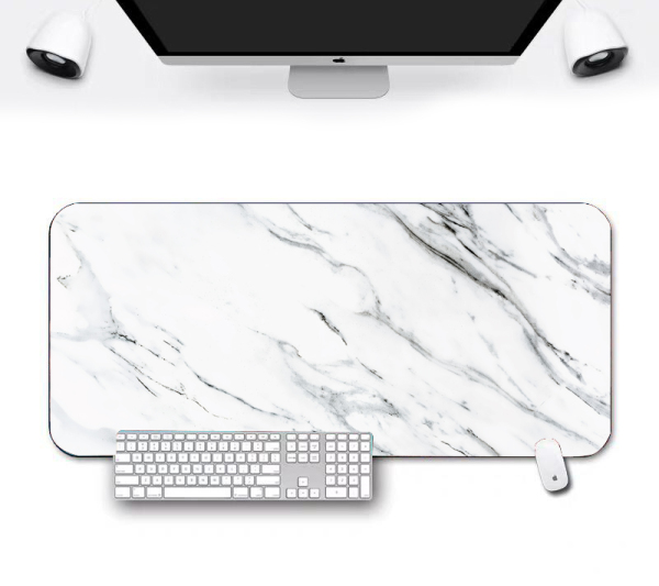 Ready stock White Marble Non-Slip Gaming Mousepad Game Mouse Pad Mat For MAC  PC  Laptop Computer Large Size Durable birthday gift office tablemat