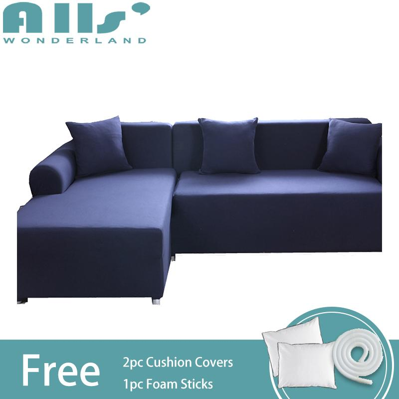 Slipcover 2pcs Pure Color Stretch Sofa Slipcover Elastic Sofa Cover for L Shape Sofa Furniture Protector