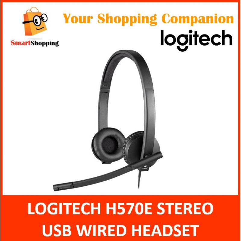 Logitech Business Headset H570e H 570e USB Wired Stereo Noise Echo Cancellation (981-000574) 2 Years SG Warranty Singapore