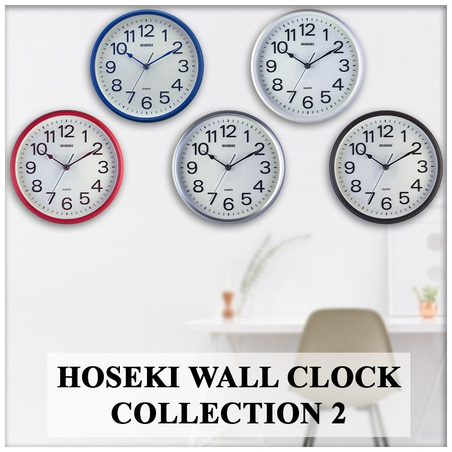 HOSEKI 11 Inch (26-28cm) H-9018 H-9141 H-9402 H-9403 Round Quartz Designer Wall Clock Silent Non-Ticking 3D Large Number Easy To Read Battery Operated Multiple Colour Choice For Living Kitchen Office Decoration