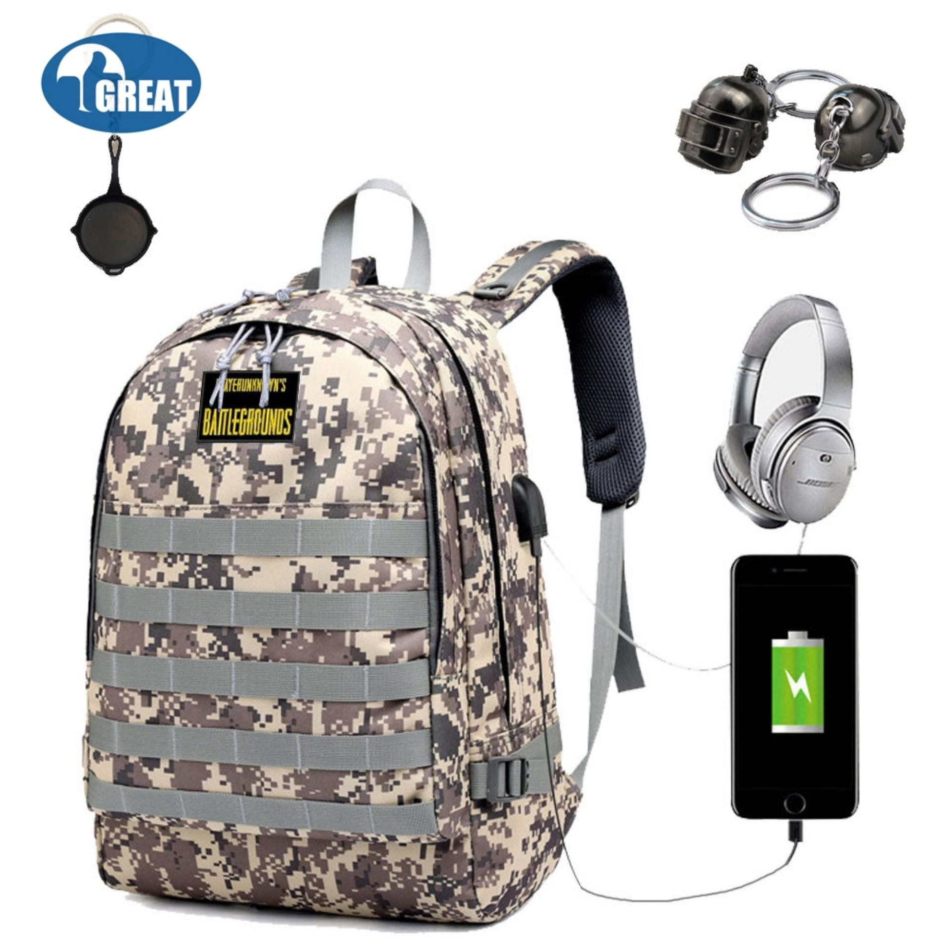 GoodGreat PUBG Backpack Travel Bag Hiking Bag Camping Bag Rucksack,Waterproof Travel Backpack With USB Charging Port & Headphone Interface,Fits Under 18-Inch Laptop Notebook (PUBG Level 3 Bag) - intl