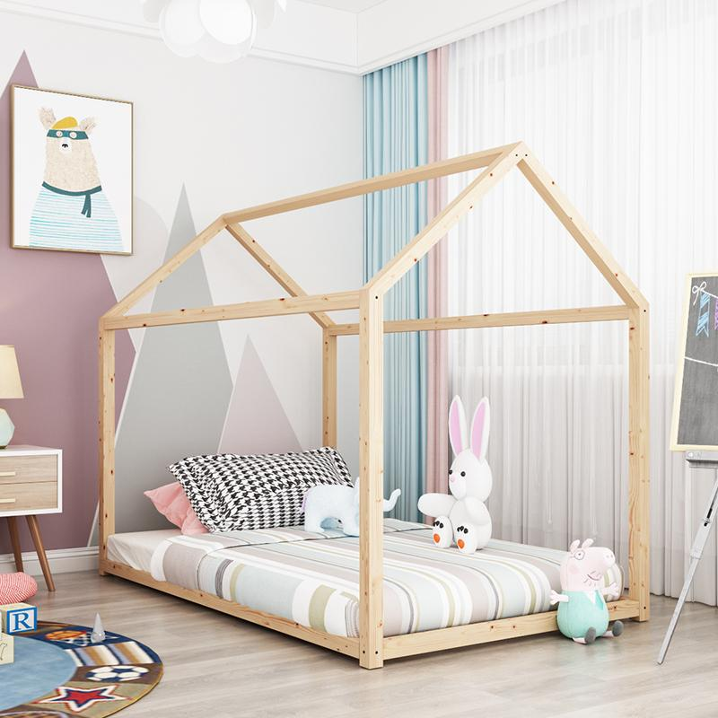 Children Bed Baby Princess Solid Wood Spell Bed INS Online Celebrity Wooden House Bed Photographic Prop Accept Customizable