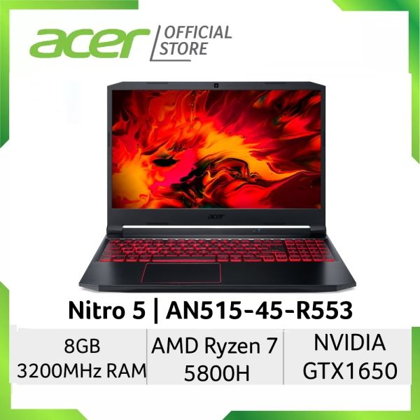 [Ryzen 7 5800H] Acer Nitro 5 AN515-45-R553 15.6 inch FHD IPS Gaming Laptop | AMD Ryzen 7 5800H | NVIDIA GTX1650 Graphic