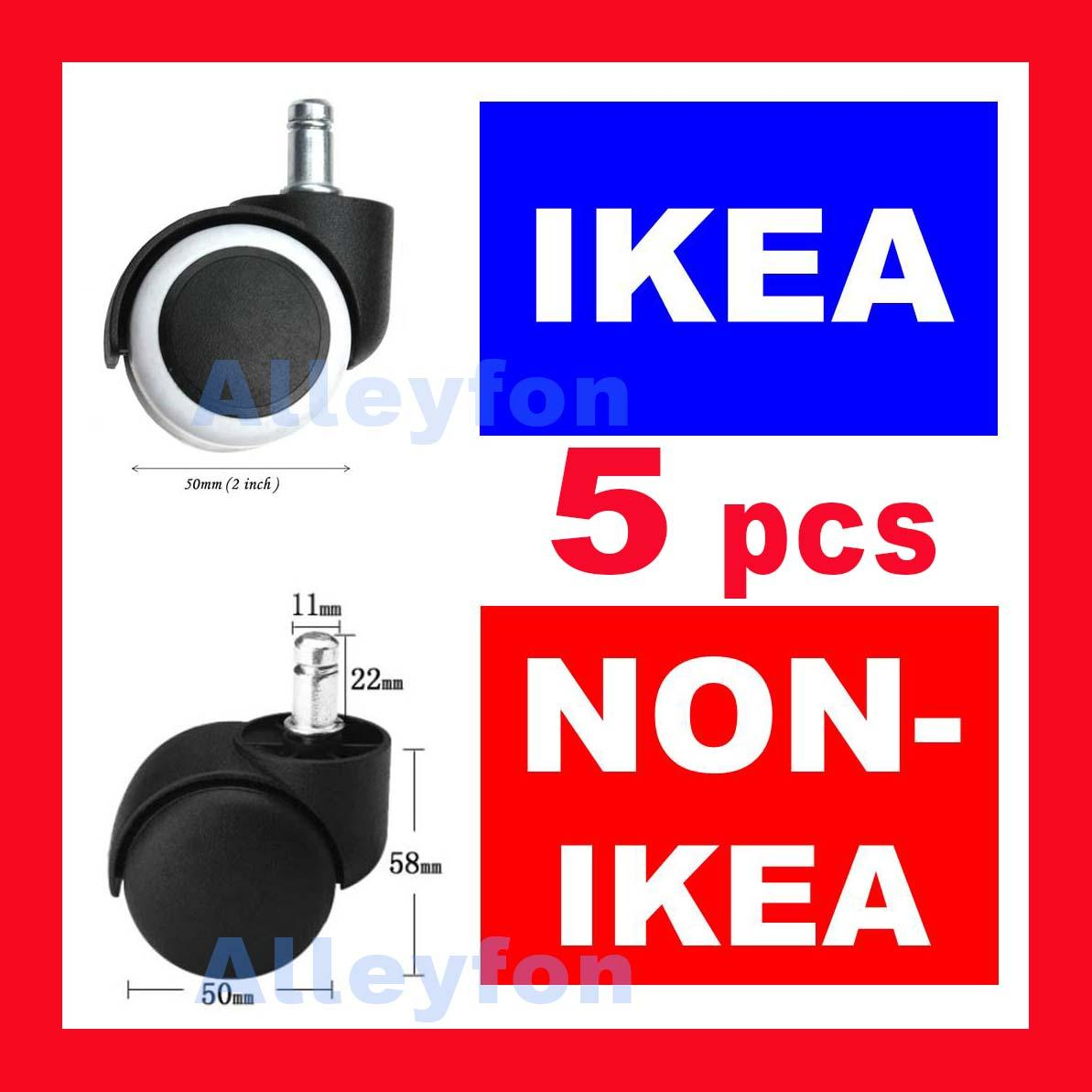FAST SHIPPING ! 5 Wheels for IKEA and non-ikea swivel roller office chair study leg stool caster castors frame wheel universal chairs