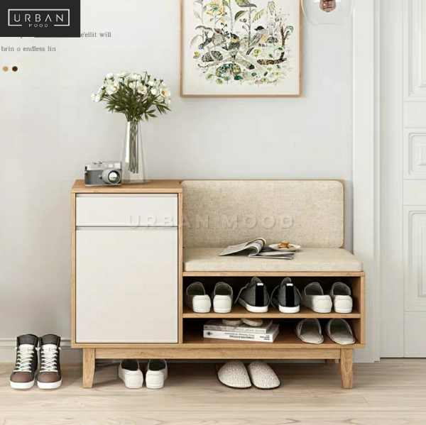 [Pre-Order] RUSSELL Rustic Solid Wood Shoe Cabinet Bench