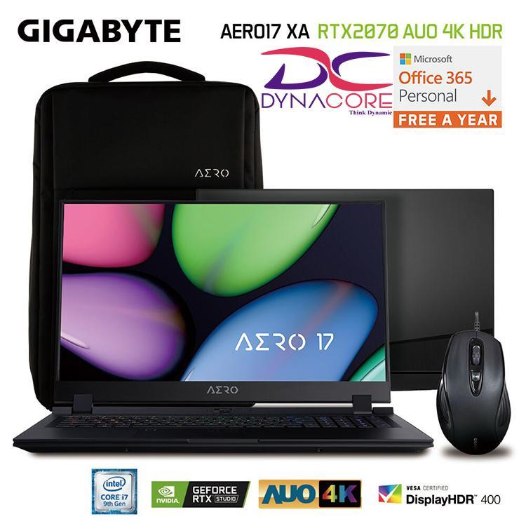 GIGABYTE AERO17 XA RTX2070 AUO 4K HDR 17.3 Inch i7-9750H RTX 2070 Intel® 760p SSD 512GB m.2 PCIe Win 10 Pro (2 Years)