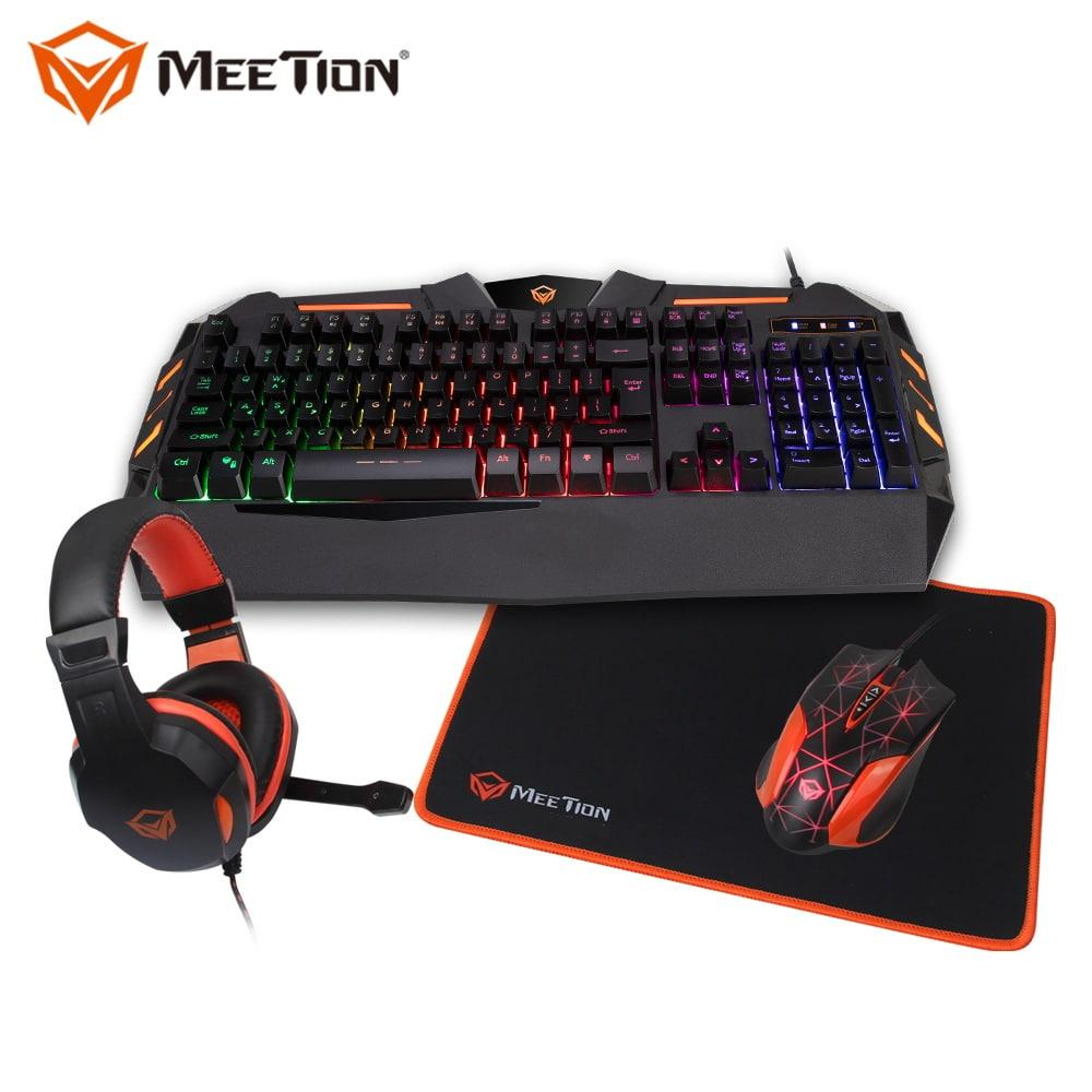 MeeTion 4 in 1 Combo with USB Wired Keyboard/ Mouse/ Headphone/ Mouse Pad For Game Consoles - MT-C500