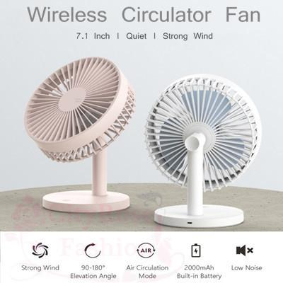 Original 180° Wireless Circulator USB Desk Fan 3 Level Strong Wind Rechargeable Large 7.1 inch 2000m