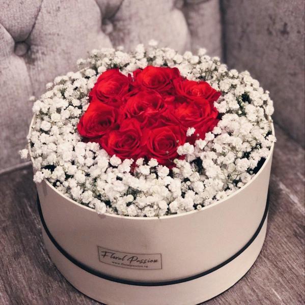 Preserved Roses & Baby Breaths Flower Box (Standard)