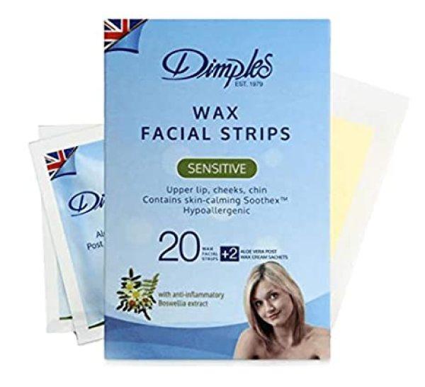 Buy Dimples Facial Wax Strips, 20 Wax Strips, For Upper Lip, Cheeks, Chin (Sensitive Skin) Singapore