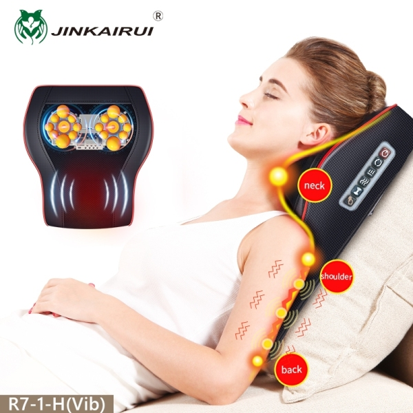 Buy Jinkairui Neck Massager Back Massage Pillow Kneading Heating Vibration Body Massage for Shoulder Waist Leg Home Office Car Use Singapore