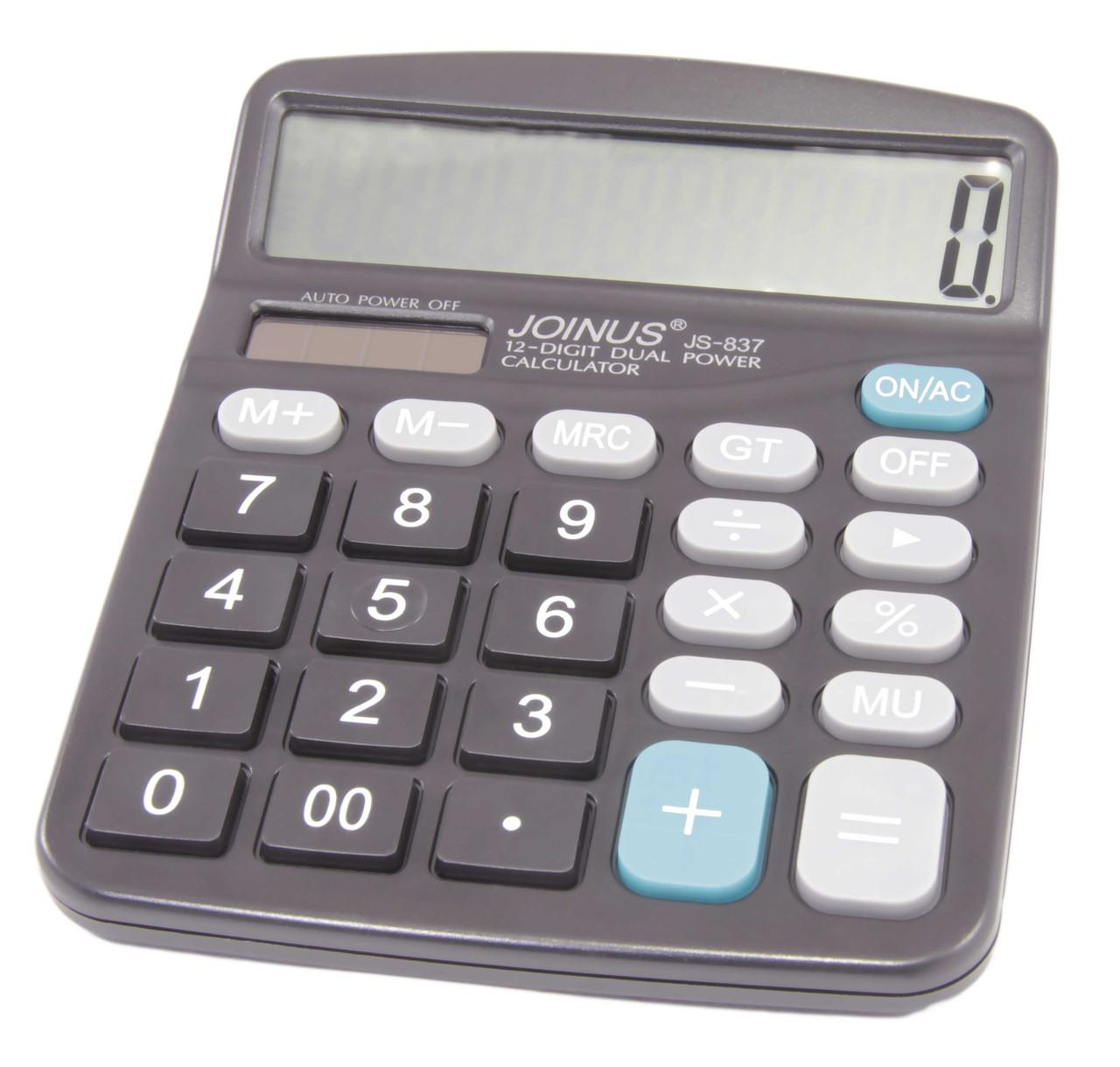 Dual Power 12 Digit Big Display Desktop Calculator JS-837 Solar/Battery  Powered  Home Office School Large Display