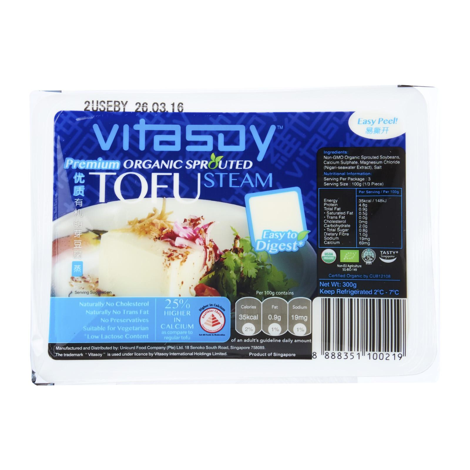 Vitasoy Premium Organic Sprouted Tofu - Steam By Redmart.