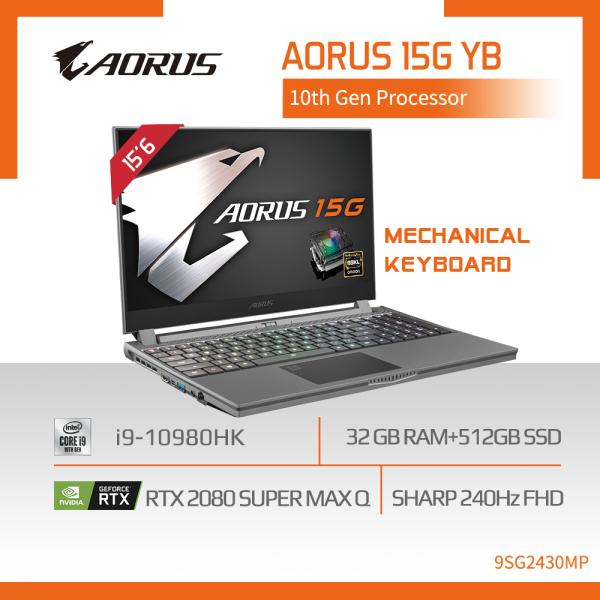 AORUS 15G YB i9 (i9-10980HK/32GB SAMSUNG DDR4 2666 (16GBx2)/GeForce RTX 2080 Super GDDR6 8GB Max-Q/512GB M.2 PCIE SSD/15.6inch Thin Bezel SHARP 240Hz Display/WINDOWS 10 PROFESSIONAL) [Ships 2-5 days]