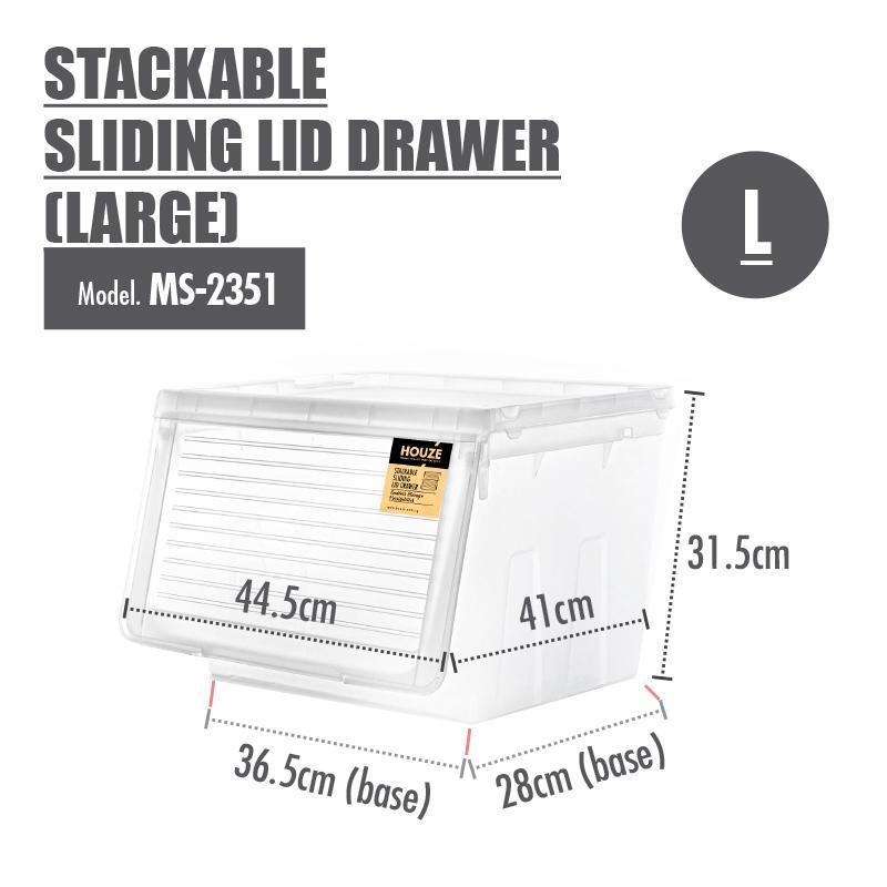 [Set of 4] Houze Stackable Sliding Lid Drawer (Large)